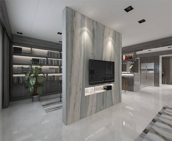 大厅内无论电视机主墙或地板铺设的大片瓷砖,皆轻易撼动人心。